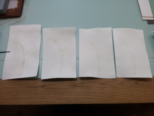 Dry blotters after use, from l-r after 30mins, 1hr, 1hr30mins, and 2hrs.